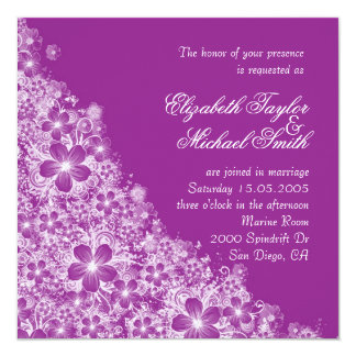 Luxury Purple Floral Spring Blanket Wedding Invite Personalized Invite