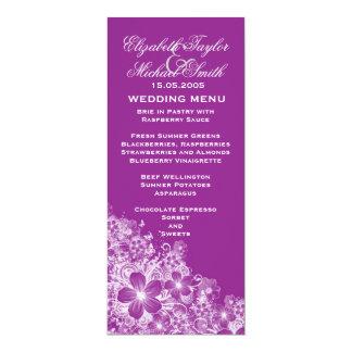 Luxury Purple Floral Spring Blanket Wedding Menu Card