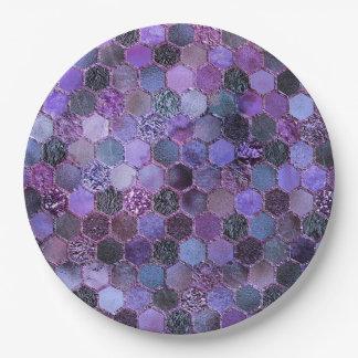 Luxury Purple Metal Foil Glitter honeycomb pattern 9 Inch Paper Plate