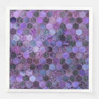 Luxury Purple Metal Foil Glitter honeycomb pattern Disposable Napkins
