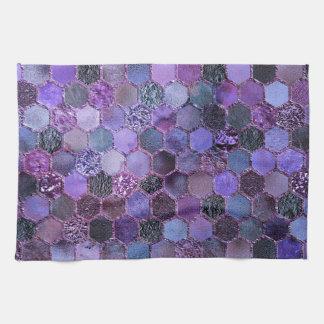 Luxury Purple Metal Foil Glitter honeycomb pattern Hand Towel