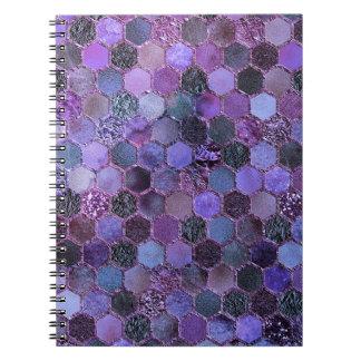 Luxury Purple Metal Foil Glitter honeycomb pattern Notebook