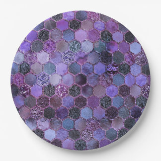 Luxury Purple Metal Foil Glitter honeycomb pattern Paper Plate