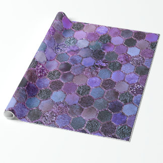 Luxury Purple Metal Foil Glitter honeycomb pattern Wrapping Paper