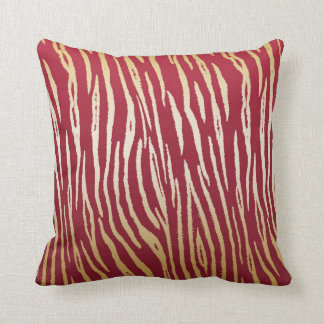 Luxury Red and Gold Tiger Print Cushion