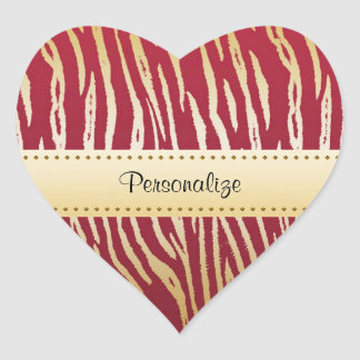 Luxury Red and Gold Tiger Print With Name Heart Sticker