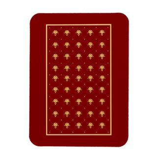 Luxury Red and Gold Vintage Damask Pattern Rectangular Photo Magnet