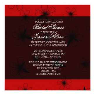 Luxury Red Floral Blanket Damask Bridal Invite