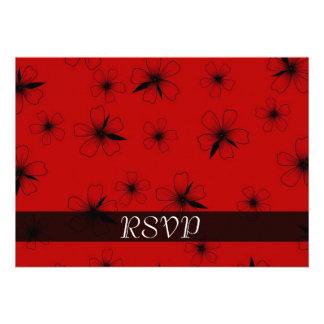 Luxury Red Floral Blanket Damask RSVP card Invites