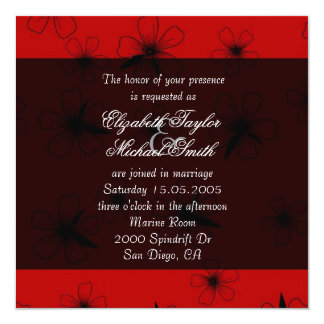 Luxury Red Floral Blanket Damask Wedding Invite Invitations