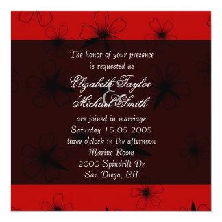 Luxury Red Floral Blanket Damask Wedding Invite Invitations