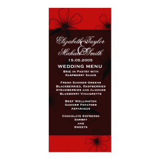 Luxury Red Floral Blanket Damask Wedding Menu 10 Cm X 24 Cm Invitation Card
