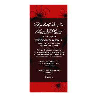 Luxury Red Floral Blanket Damask Wedding Menu Card