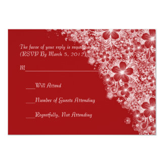 Luxury Red Floral Spring Blanket RSVP card Announcement