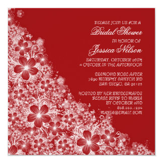 Luxury Red Floral Spring Blanket Shower Invite Custom Announcements