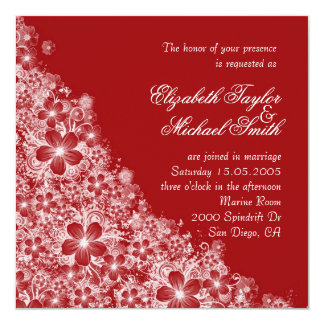 Luxury Red Floral Spring Blanket Wedding Invite Announcements