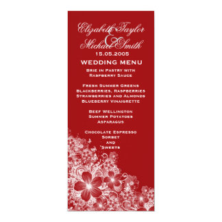 Luxury Red Floral Spring Blanket Wedding Menu 10 Cm X 24 Cm Invitation Card
