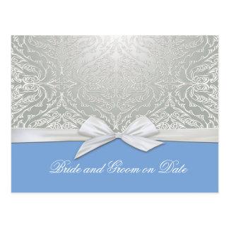 Luxury Ribbon Silver/Blue Damask Save date card