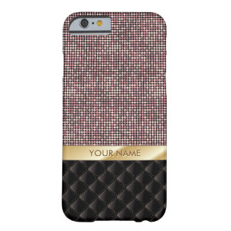 Luxury Rose Gold Glitter Custom Name Barely There iPhone 6 Case