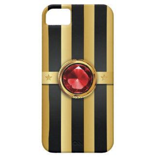 Luxury Ruby Gemstone Gold Stripes iPhone 5 Case