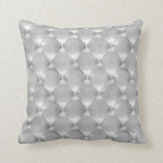 Luxury Silver Gray Tufted Leather Opulent Glam Cushion