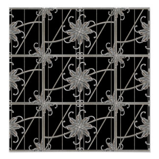Luxury Silver Ornamental Pattern Poster