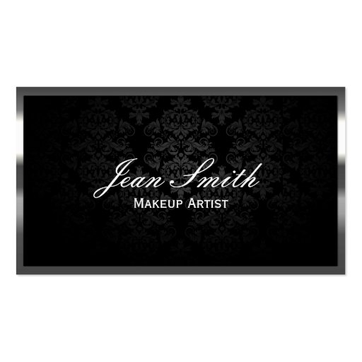 Luxury Steel Border Makeup Artist Business Cards
