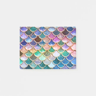 Luxury summerly multicolor Glitter Mermaid Scales Post-it Notes
