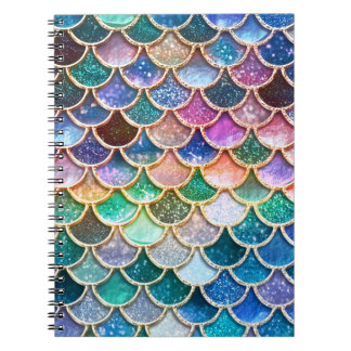 Luxury summerly multicolor Glitter Mermaid Scales Spiral Notebook