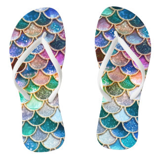 Luxury summerly multicolor Glitter Mermaid Scales Thongs