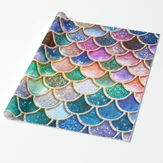 Luxury summerly multicolor Glitter Mermaid Scales Wrapping Paper