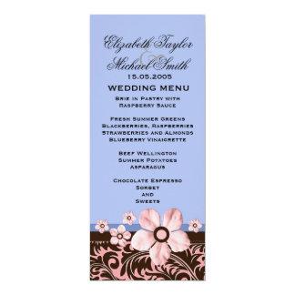 Luxury Trendy Blue Floral Damask Wedding Menu 10 Cm X 24 Cm Invitation Card