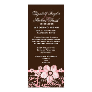Luxury Trendy Brown Floral Damask Wedding Menu 10 Cm X 24 Cm Invitation Card