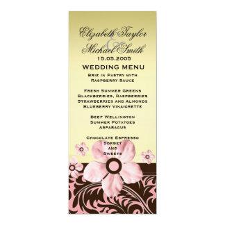Luxury Trendy Gold Floral Damask Wedding Menu 10 Cm X 24 Cm Invitation Card