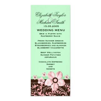 Luxury Trendy Green Floral Damask Wedding Menu 10 Cm X 24 Cm Invitation Card