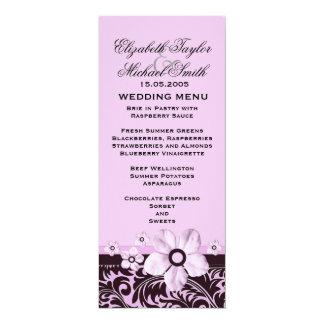 Luxury Trendy Purple Floral Damask Wedding Menu 10 Cm X 24 Cm Invitation Card