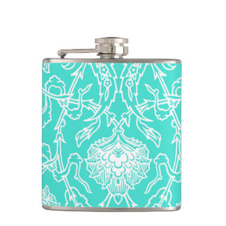 Luxury Turquoise & White Damask Decorative Pattern Hip Flask