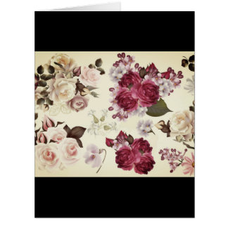 Luxury vintage Paper greeting with flowers Card