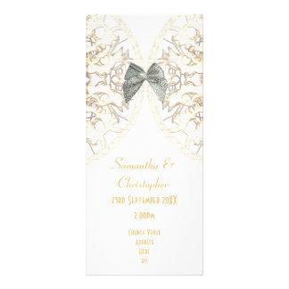 Luxury white lace damask church wedding program rack card