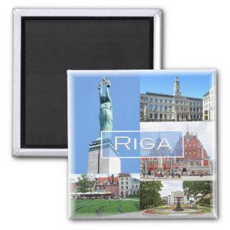 LV * Latvijas Republika  Latvia Lietuva - Riga Square Magnet