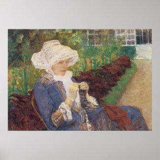Lydia Crocheting in Garden at Marly, Mary Cassatt Poster