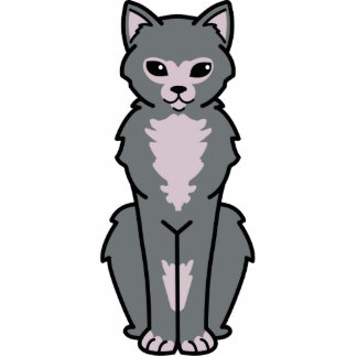 Lykoi Cat Cartoon Standing Photo Sculpture