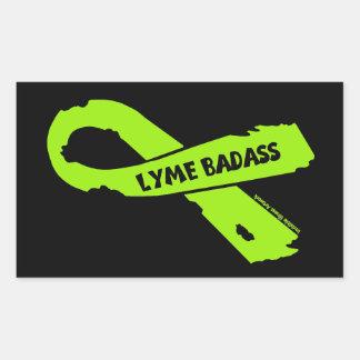 LYME BADASS/ torn ribbon Rectangular Sticker
