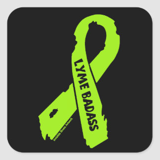LYME BADASS/ torn ribbon Square Sticker