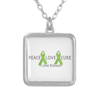 LYME DISEASE AWARENESS PRODUCT ~ Peace, Love, Cure Square Pendant Necklace