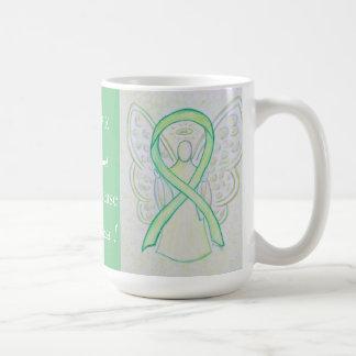 Lyme Disease Awareness Ribbon Angel Custom Mug