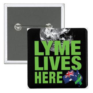Lyme Lives Here Australian Flag Awareness Button