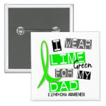 Lymphoma I Wear Lime Green For My Dad 37 15 Cm Square Badge