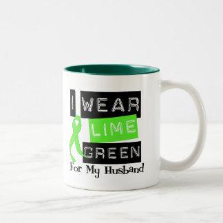Lymphoma I Wear Lime Green Ribbon For My Husband Two-Tone Coffee Mug