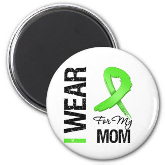 Lymphoma I Wear Lime Green Ribbon For My Mom 6 Cm Round Magnet